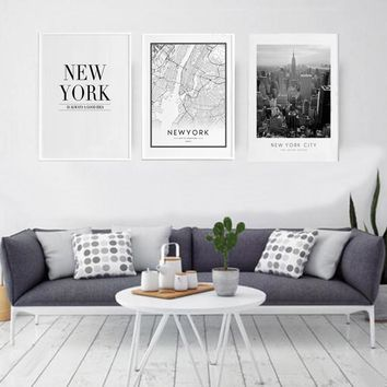 American Style New York City Map Canvas Paintings Building Photo Wall Art Pictures Posters and Prints for Living Room Home Decor