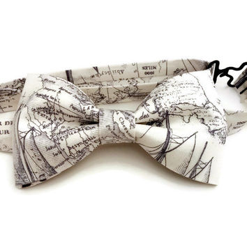 Nautical Map Bowtie • Boat Bow Tie • Map Print Cotton Tie • Blue Ink Bowtie • Fathers Day Gift • Gifts under 30 • Pre-Tied Bow Tie
