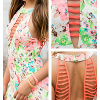 Flower Child Electric Neon Coral Floral Romper