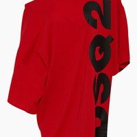 Logo Asymmetric Short Kaftan - Red