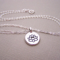 Lotus Necklace - Tiny Necklace -  Simple Jewelry Everyday Necklace / Gift for Her - Yoga Necklace - Flower Necklace - Lotus Charm