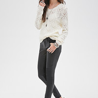 FOREVER 21 Open-Knit Geo Pattern Sweater Cream