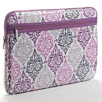 Monogrammed Purple and Gray Damask Laptop Sleeve - 16 inches Southern, College, Sorority