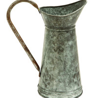Galvanized Watering Jug With A Slender Wide Handle