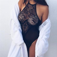 Stylish Casual Set Hot Sale Summer Women's Fashion Round-neck See Through Lace One-piece [10632517315]