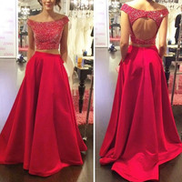 2016 Two Piece Satin Prom Dresses Gowns Keyhole Back pst0128
