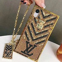 LV Louis Vuitton Hot Selling Diamond Mobile Phone Case, Personalized Fashion Lady iPhone Case