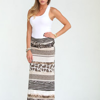 Jungle Print Maxi Skirt