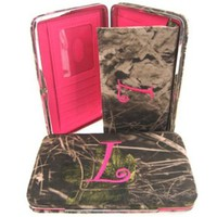 """Soft Camo Initial """" L """" Thick Flat Wallet Clutch Purse Hot Pink Camoflauge"""