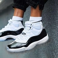 Air Jordan 11 Trending Women Men Casual Sneakers Sport Basketball Shoes White&Black