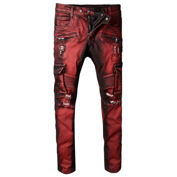 Fashion Design Men Classic Jeans Straight Full Length Casual Red Pocket Zippers Men Biker Jeans Stretch Ripped Mens Skinny Jeans