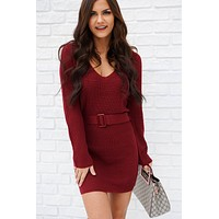 Love Is Life Sweater Dress (Wine)