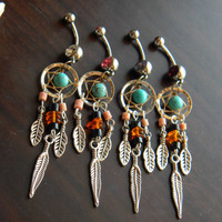 Choose 1 Dream Catcher Belly Ring with Baltic Amber in The Native Inspired Tribal Boho Hippi Belly Dancer Hipster Style