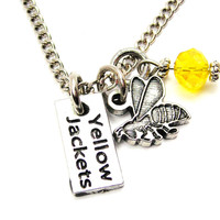 Yellow Jacket With Yellow Jackets Tab Necklace With Crystal Accent