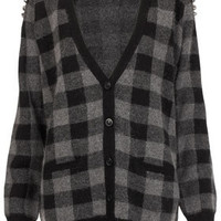 Knitted Stud Check Cardigan - Knitwear  - Clothing