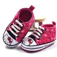 New HELLO KITTY Soft Sole Baby Girls PINK High Top Crib Shoes. Age 3-12 Months