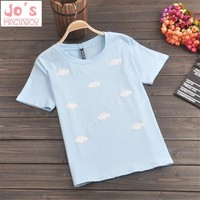 Cotton 2017 Summer Kawaii Student Printing Tee Women Cute Pink Clouds Harajuku T Shirts Young Ladies Lovely Tops DX625