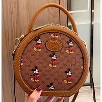 GUCCI & Disney New fashion more letter mouse print leather shoulder bag crossbody bag handbag
