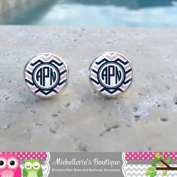 Lilac Navy and White Chevron Monogram Earrings, Monogram Jewelry, Monogram Accessories, Monogram Studs, Monogram Leverbacks,  Monogram Gift