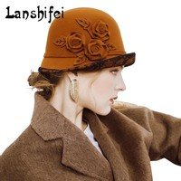 Women Fashion Lace Flanging Wool Fedoras Hat Lady Dome Felt Cap Three-Dimensional Flowers Hat Winter Autumn Cylinder Wool Caps