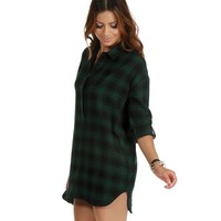 Green Falling For Plaid Tunic