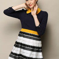Black And White Stripes Pointed Flat Collar Long Sleeve Pleated Mini Dress