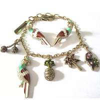 Tropical Parrot Palm Trees & Pineapple Charm Bracelet and Matching Parrot Earrings, Art Deco Revival Enamel Jewelry Set
