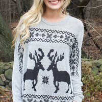 Reindeer and Snowflake Sweater - Black