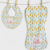 Hello Deer Baby Bib & Burp Cloth Set