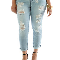 Plus-Size Destructed Faded Rolled Jeans - Rainbow