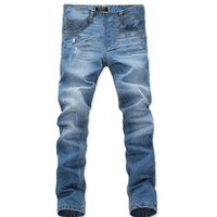Juanshi Men's Straight Jeans Color Blue Size 34