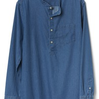 Standard Fit Shirt in Twill Indigo with Band Collar|gap