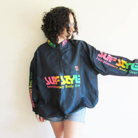 Vintage 90s Surf Style Interplanetary Body Wear/ Windbreaker/ Iridescent Neon/ Oversize Pullover Jacket