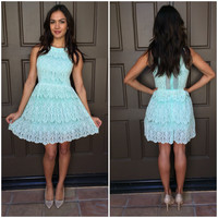 One & Only Babydoll Lace Dress - Mint