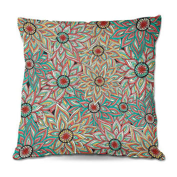 Floral Epoque Throw Pillow in Yellow, Turquoise, Coral – 3 Sizes Available