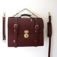 Traditional English bridle satchel in Brown by JosephPMarcellinoNY