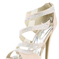 Marichi Mani Yamila02 Nude Strappy Rhinestone High Heels and Shop shoes at MakeMeChic.com