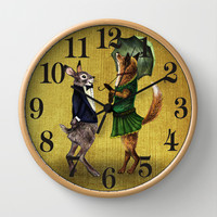 Fox and Hare Wall Clock by Anna Shell