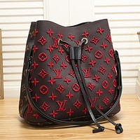 Women Fashion Embroidery Leather Bucket Bag Handbag