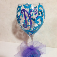 Monogram Hand Painted Wine Glass Sassy Swirls Aqua Swirls and Purple Chevron Print Painted Wine Glass Perfect Bridesmaid or Birthday Gift
