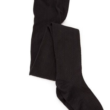 Attention To Detail Black Textured Tights