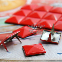100 PCS X 9mm / 12mm Red Square Pyramid Spike Rivets Studs Metal Matte Finish Diy Bling iPhone Case Bag Leathercraft Accessories (SD.R)