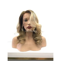 Blonde Ombre Balayage' Human Hair Multi Parting Lace Front Wig - Paisley