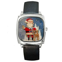 Christmas Santa and Rudolph the Red Noseed Reindeer on a Silver Square Watch ...
