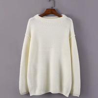 Long Sleeve Sweater with Side Slits