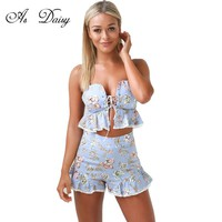 As Daisy Spaghetti Strap Floral Playsuit Sexy Rompers Women Print Bodysuit Lace Up Casual Beach Rompers Short Jumpsuit JP1733