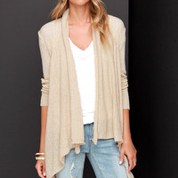 Knit Me Up Beige Cardigan Sweater
