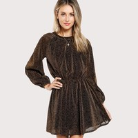 Party Dress Gold Women Dresses Cut Out Vintage Elegant Bishop Sleeve Mesh Sequin Transparent A Line Dress