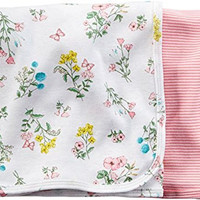 Carters Baby Girls' Floral Swaddle Blanket - 2 Pack