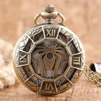 Vintage Hollow Game of Thrones House Greyjoy of Pyke Theme Pocket Watch Bronze Quartz Fob Watches for Men Necklace Pendant Chain